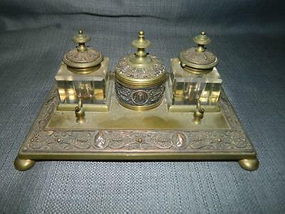 ANTIQUE GILT BRASS ORNATE DOUBLE INKWELLS / INKSTAND, Heavy