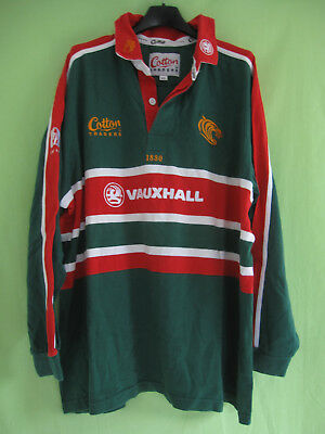 Maillot Rugby Leicester Tigers 2001 Vauxhall Cotton Traders vintage Jersey - XL