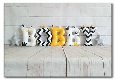 Fabric Nursery Letters,Name Banner/Nursery decor,Bunting, yellow/white /black