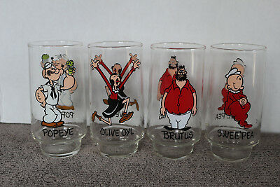 1975 Set of 4 Coca-Cola KOLLECT-A-SET POPEYE & FRIENDS DRINKING GLASSES