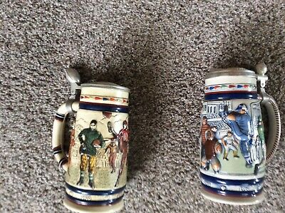 Avon 1983 Football 1984 Baseball Lidded Beer Steins Numbered Collectible