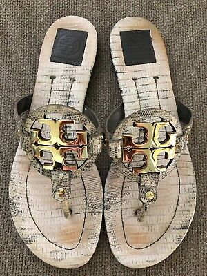 5961822a538dad TORY BURCH Miller 2 Snake Embossed Beige Leather Thong Sandal Sz 11