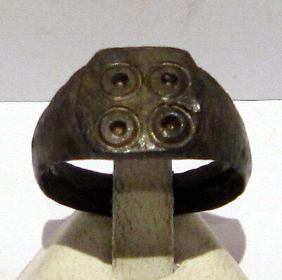 Beautiful Post-Medieval Bilon Ring With Engraving On The Top # 408