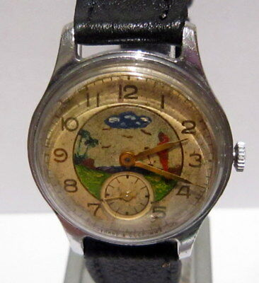 Vintage Early Russian Men's Watch Pobeda With Nice Hand Painting Dial,rare # 591