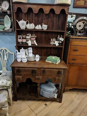 Handmade Two Part Welsh Dresser kitchen With drawers Vintage Wooden Sideboard
