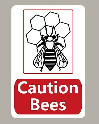 2 X Caution Bees Stickers Sign