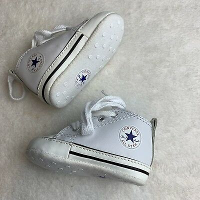 78b1d4b1d11ea6 Converse All Star Baby Infant Shoes Leather Size 1 Crib High Top White Crib