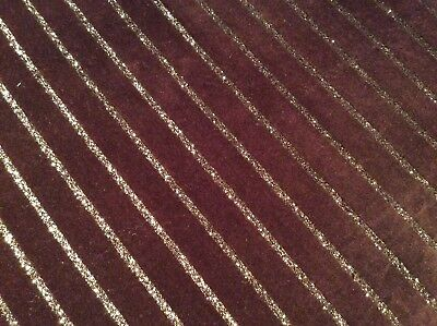 Brown velvet Fabric With Gold Stripe Fat Quarter, Christmas, Crafting, Vintage