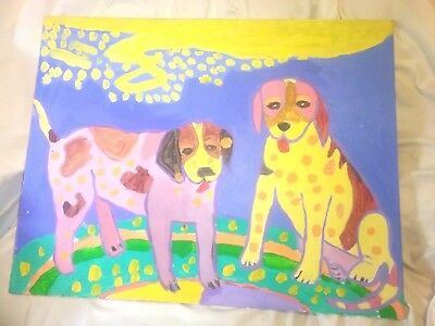 Vintage Dog  Doggies oil painting Pair Colorfull Original Very Cool!