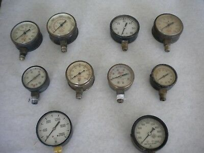 Lot set of 10 misc. pneumatic gauges. Many different Gauge sizes and PSI