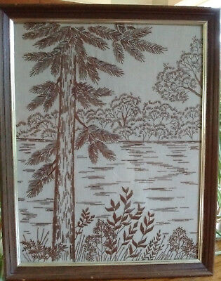 Vintage Finished Framed All Brown Crewel Landscape Mid-Century Modern 16x20