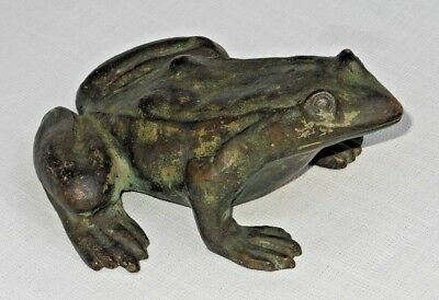 1930's Bronze Clad Figural FROG Fountain Figure / Garden Ornament - Orig Surface