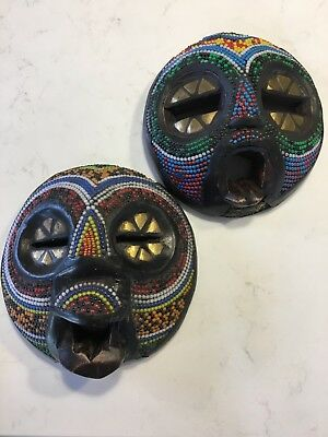 African small beaded masks (2) from Ghana