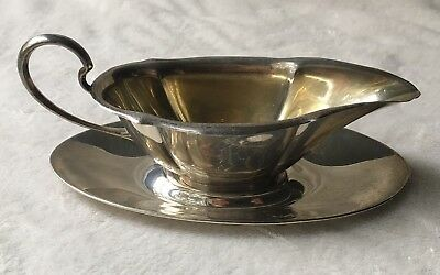 "Antique 1920's N & H 925 Sterling Silver Gravy / Sauce Boat ""F"" Monogram"