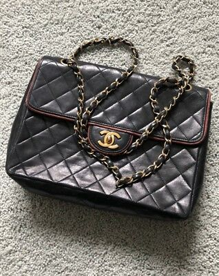 db530be5d6d0 Chanel Vintage Black Quilted Lambskin Leather Classic Medium Double Flap Bag