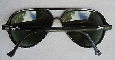 Vintage Ray Ban CATS Bausch and Lomb Sunglasses B L France Black Aviator 88762ca26902