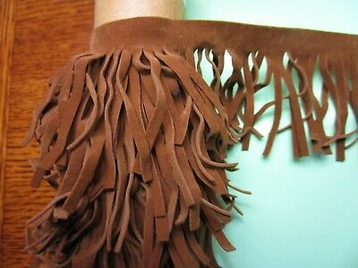 Vintage   Quality Tan  Faux Suede Leather   Suede Fringing  Trim