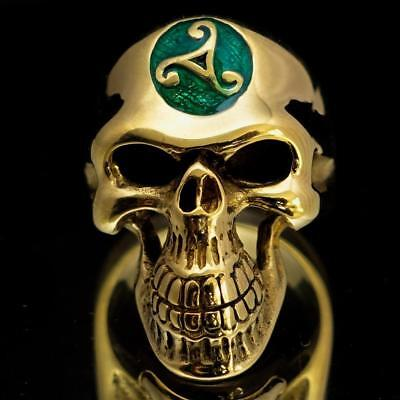 Mens Bronze Costume Skull Ring Celtic Water Triad Triskele Dark Green Any Size