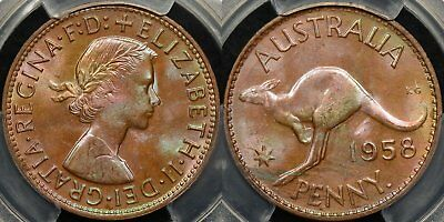 Australia 1958y Penny 1d Choice Uncirculated PCGS MS64RB