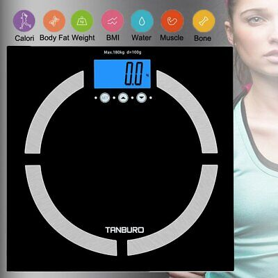 Bluetooth Glass Digital Bathroom Scale 180KG Body Fat BMI Muscle Weight Fitness