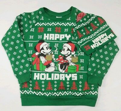 Disney Ugly Christmas Sweater.Disney Ugly Christmas Sweater Sz M 7 9 Matching Hat Minnie Mouse Mickey Mouse