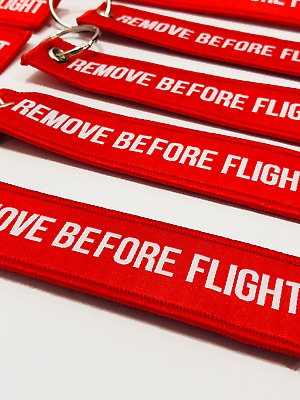 Remove Before Flight Embroidered Label Key Chain Luggage Tag - USA Seller!!!