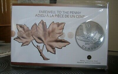 "$20 for $20 2012 Canada Fine Silver Coin "" Farewell to the Penny""  RCM sealed"
