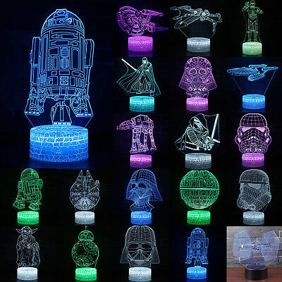 3D illusion LED Night Light Colour Changing Star Wars HomeTable Lamp Kid Gift US