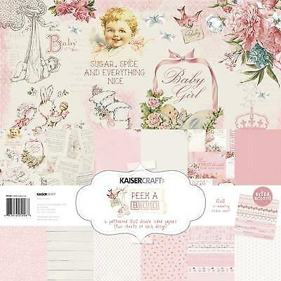 "Patterned Paper Pack 12""x12"" ~ PEEK-A-BOO ~ GIRL ~ Kaisercraft + Sticker Sheet"
