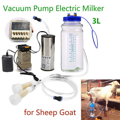 3L Electric Vacuum Milker Hand Milking Machine Kit for Sheep Goat 110V-240V