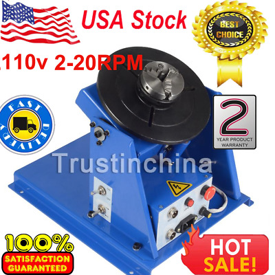"""110V Rotary Welding Positioner Turntable Table 2.5"""" 3 Jaw Lathe Chuck 2-20RPM US"""