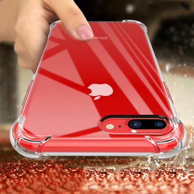 For iPhone XS Max XR X 7 8 6 Plus 5S Clear Shockproof Bumper Silicone Case Cover
