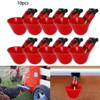10 Pack Poultry/Chicken Water-Drinking Cups Feeder Hen Quail Automatic Drinker