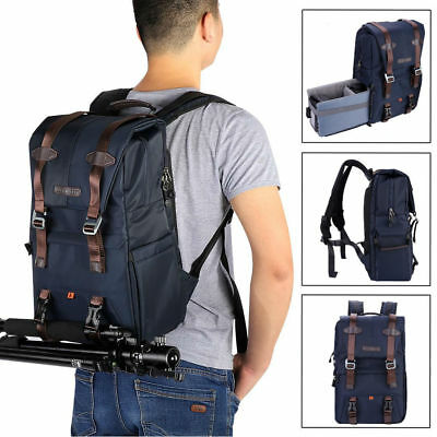 K&F Concept Navy Blue Nylon Large Camera Backpack Bag for Nikon Canon Sony DSLR