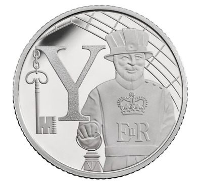 Y 2018 UK YEOMAN WARDER  Royal Mint 10p Ten Pence Letter Y Alphabet from A to Z