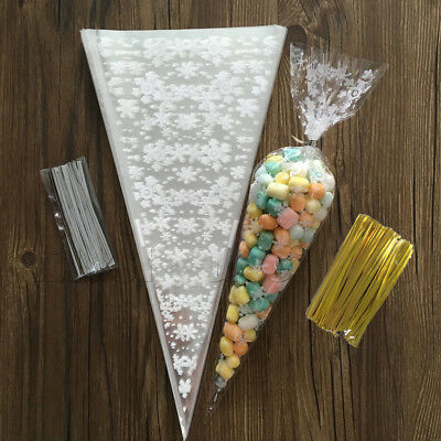 100/200Pcs Cello Party Loot Cookies Bags Sweet Cone Candy Cellophane Twist Ties