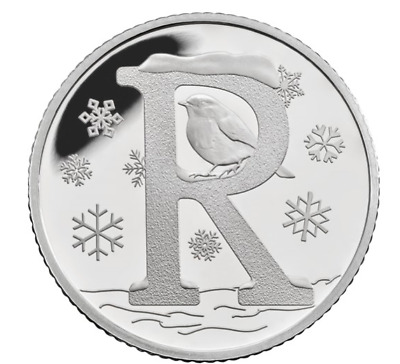 R 2018  R Robin Royal Mint 10p Ten Pence Letter R Alphabet Christmas coin GIFT