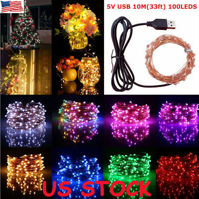 USB Battery 100 LEDs Fairy String Micro Copper Wire Light CHRISTMAS Wedding Home