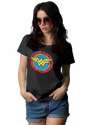 Wonder Woman Distressed Logo Latest Design Black T Shirt For Womens
