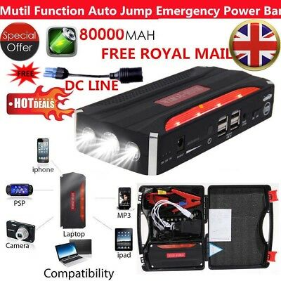 80000mAh 4 USB Car Jump Starter Pack Booster Battery Charger Power Bank Rescue
