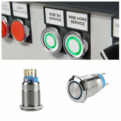 12V Auto Aluminium LED Power Push Button Metall ON / OFF Schalter Latch 19mm