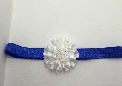 Babies blue Headband with white flower  Any Size Made