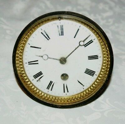 Antique Mantel Clock Part Movement With Enamel Face & Bezel, Spares/Repair