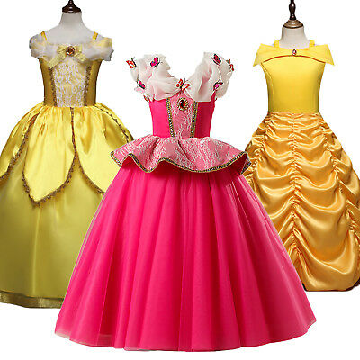 Beauty and the Beast Belle Aurora Princess Dress Girl Cosplay Kids Party Costume
