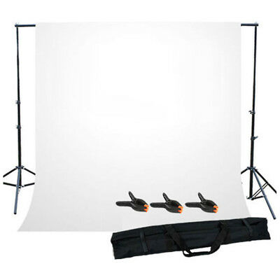1X(Photo Studio Background Support Stand with White Backdrop Carrying Case U3K2