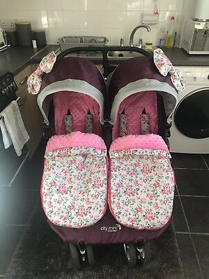 Handmade Twin Girls Footmuffs Cosytoes Grey Pink Floral With Accessories