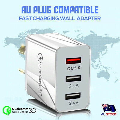 QC3.0 25W 3 USB Ports AC Plug Wall Charger Fast Charging AU Plug Power Adapter