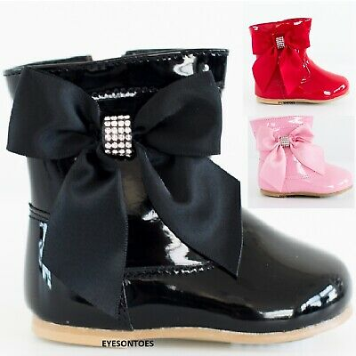 Girls Childrens Boots Spanish Patent Comfort Casual Baby Childrens Shoes Boots