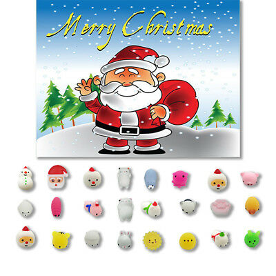 24PC Christmas Toys Mini Cute Squeeze Soft Stress Relief Funny DIY Decor Toy Lot