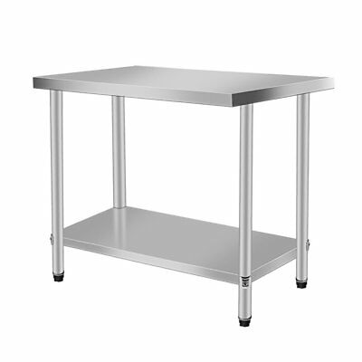 "Rolling Stainless Steel Top Kitchen Work Table Cart  Shelving 30""x24"" NEW VN"